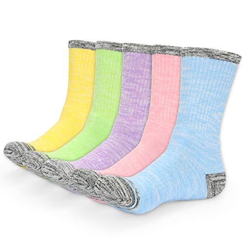 YUEVO SPORTS 5 Pares Mujer Calcetines de deporte Algodón Calcetines de Senderismo Transpirables para Trekking Caminar, Alto Rendimiento todo el año
