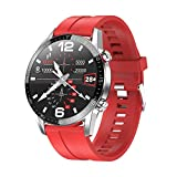 ZHEBEI PL13 Reloj Inteligente de los Hombres Bluetooth Llamada IP68 Impermeable Smartwatch ECG PPG Presión Arterial Ritmo Cardíaco Fitness Tracker Relojes deportivos de silicona roja