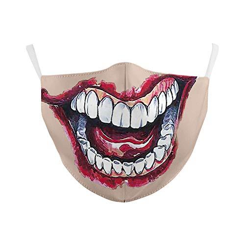 eBoutik - Modischer Filter-M&schutz, lustige Designs, Gesichtsbedeckungen, perfekt für Social Distancing (unheimlich grinsende dünne Lippen)