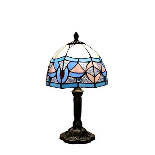 AIBOTY Lámpara de mesa Tiffany estilo barroco de cristal de color azul con sombra de flores y base de resina para noche o salón E27 8 pulgadas