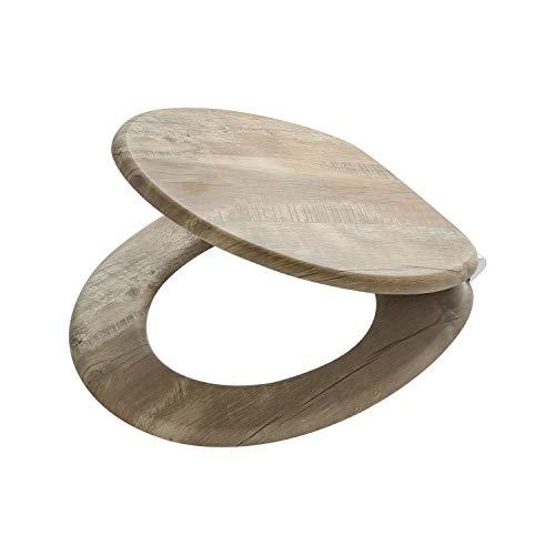 Tiger Toilettensitz Hetta, WC-Sitz mit Absenkautomatik und Soft-Touch-Oberfläche, Holz, Farbe: Braun Rustikal, Metallbefestigung