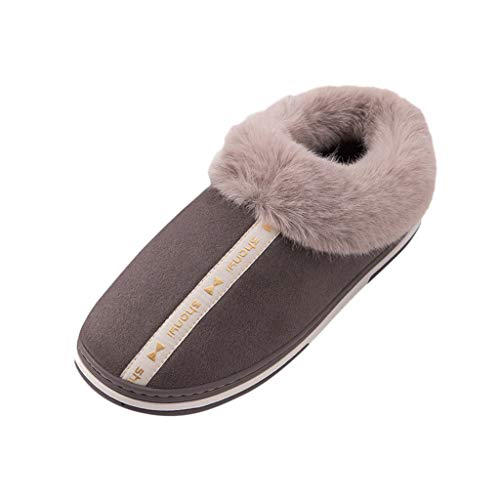 Mens Two Tone Fleece Lined Slippers-RQWEIN Comfortable Slippers for Men Fuzzy Slipper Socks Soft Sole Mens House Slipper(Coffee,12