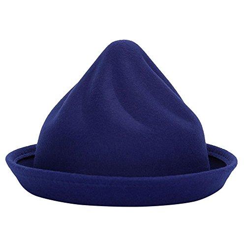 Demarkt Melonen Hut Filzhut Jazz Hut für Damen im Herbst und Winter Elegantes Schmuck aus Filz Kopfumfang von 57-58CM Blau