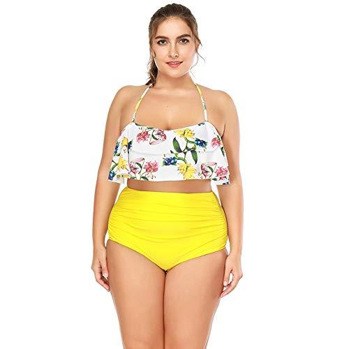 BENGKUI Bikini Traje De Baño Trajes De Baño Mujer Trajes De Bano De Cintura Alta Bikini Volantes Bikinis Traje De Baño para Mujeres Trajes De Baño Biquini Push Up,XL