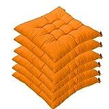 6er Set Stuhlkissen mit Bänder, 40x40x5cm, Sitzkissen für Stühle drinnen und draußen (Mehrere Farben zur Auswahl) (Orange)