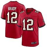 SJYM Tom Custom Maillot de football américain Brady Tampa Bay Rugby Vêtements Buccaneers Rouge/étain/blanc N°12