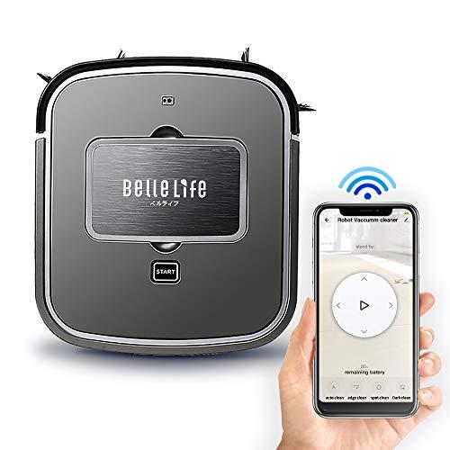 BelleLife Roboterstaubsauger 3cm Superschlank, Mit Google Home/Alexa/App-Steuerung, 100min Akkulaufzeit, WLAN Saugroboter für Staub, Tierhaare,Teppiche, Hartböden, Schwarz