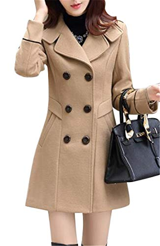 MOUTEN Womens Double Breasted Solid Fall & Winter Slim Trench Jacket Pea Coat Overcoat Khaki M
