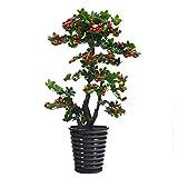 LOMJK Árbol Artificial, Planta de simulación árbol de Frutas de Cereza, Plantas en Maceta de Piso a Techo Grande en la Sala de Estar Interior, 130 cm