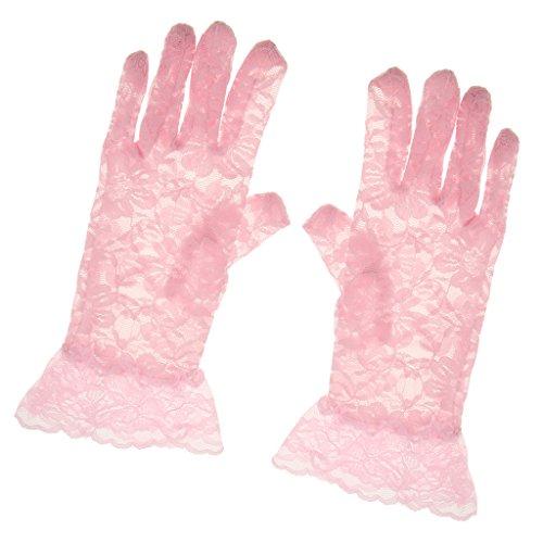 LOVIVER Damen Spitze Handschuhe Party Kostüm Zubehör - Rosa, 26 x 9 cm