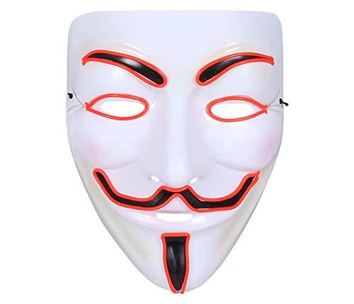 Alsino Anonymous Maske LED Vendetta Masken mit Licht 3 Leuchtmodi Halloween Gesichtsmaske Leuchtend Guy Fawkes Demo Vollmaske (rot)