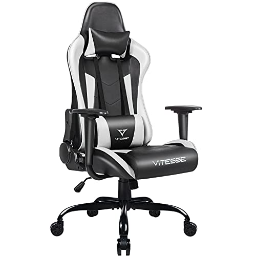 PUKAMI Gaming Chair Ergonomic Racing Chair High Back with Height Adjustable Computer Desk Chair with Lumbar Support and Headrest Swivel Office Chair Executive Leather Chair (White)