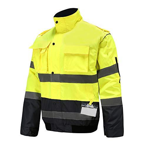 AYKRM Giacche e Giubbotti Alta visibilità Bomber ad Alta visibilità da Lavoro da Uomo Wear Imbottita Impermeabile con Cappuccio Giacche Taglia (L, Giallo)