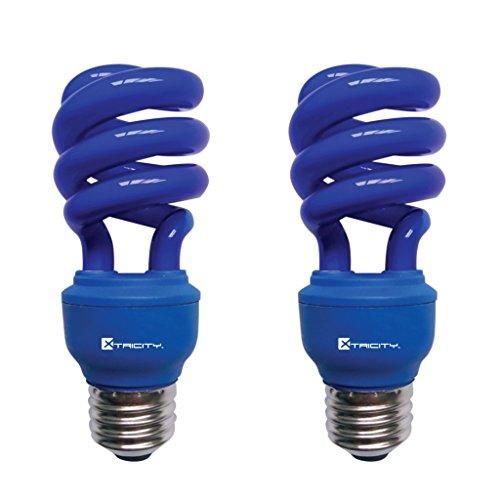CFL Compact Fluorescent Colored Light Bulb, T2 Spiral, 13W (60 Watt Equivalent), E26 Medium Base, 120V, UL Listed, Blue (2 Pack)