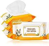 Dhohoo - Toallitas húmedas de cuidado para perros y gatos - 80 unidades/paquete de toallitas de limpieza orgánicas para cuerpo, patas, orejas, cara, sin fragancia, hipoalergénicas, naturales