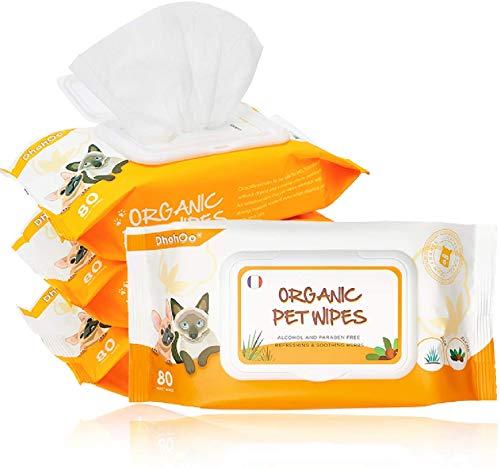 Dhohoo - Toallitas húmedas de cuidado para perros y gatos - 320 unidades de toallitas de limpieza orgánicas para cuerpo, patas, orejas, cara, sin fragancia, hipoalergénicas, naturales