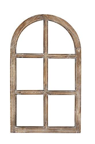 Nostalgie Holz Deko Fenster braun gewischt halbrund 42 x 2 x 70 cm
