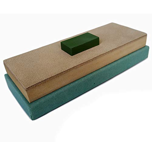 Leather Honing Strop Block with Green Compound   3 inch by 8 inch   For sharpening honing and polishing knives, straight razors, blades, chisels and tools by Upon Leather