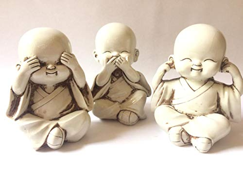 Juego de figuras de monje de tres monos sabios, estatua de bebé...
