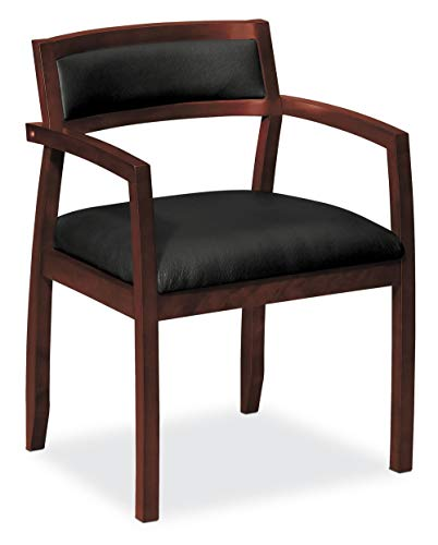 HON HVL852.N.SB11 Topflight Wood Guest Chair -  Leather Seated Guest Chair with Arms, Office Furniture, Mahogany Finish (VL852)