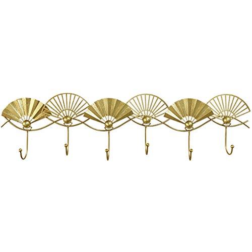 Gancho de ropa Abrigo de pared en forma de ventilador Abrigo de perchero de gancho de entrada de gancho de pared de gancho de gancho creativo Percha de gancho (dorado) Ganchos de acero para la capa co