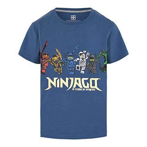 LEGO Ninjago SS T-Shirt 10 Years Jubiläum Camiseta, Azul, 122 cm para Niños