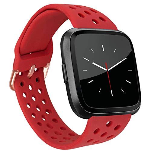 MroTech Compatible con Fitbit Versa Correa/Fitbit Versa Lite Edition Correa/Fitbit Versa 2 Correa, Pulsera de Repuesto de Silicona para Fit bit Versa/Versa2 Smartwatch Banda para Mujer y Hombre,Rojo