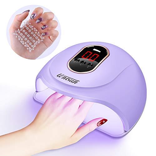 UV LED Lampe für Gelnägel,54w Nageltrockner für Gel Nagellack,Professionelle Nagellampe in Salonqualität, mit 3 Timern, Auto-Sensor, Nagelwerkzeuge für Fingernagel und Zehennagel(Lila)
