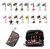 MiTho-Store Angeln Blinker Set, attraktives Set mit 16 verschiedenen Spinnern für das Raubfischangeln. Verpackt in einem Camouflage Mäppchen, passt in Jede Hosentasche.