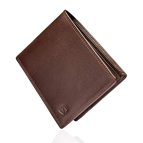 Marrón Carteras de Hombre con Protección RFID y Caja de Regalo Billeteras Cuero Billetero Billeteros Portamonedas Negros Monedero Monederos Estuche Masculino Chico Men Leather Wallet Bloqueo Seguridad