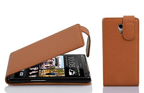 Preisvergleich Produktbild Cadorabo Hülle für HTC Desire 700 - Hülle in Cognac BRAUN Handyhülle aus Strukturiertem Kunstleder im Flip Design - Case Cover Schutzhülle Etui Tasche