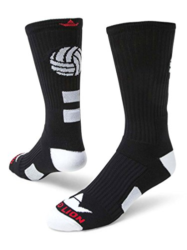 Red Lion Dig Volleyball High Tech Crew Socks ( Black / White - Medium )