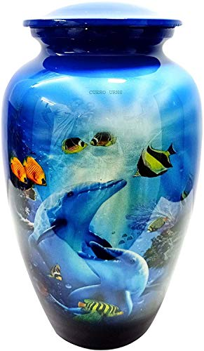 """hlc URNS Lovely Dolphin Ocean Blue Cremation Urn for Human Ashes - Adult Funeral Urn Handcrafted - Affordable Urn for Ashes (Adult (200 lbs) – 10.5 x 6 """", Lovely Dolphin Ocean Blue Cremation Urn)"""
