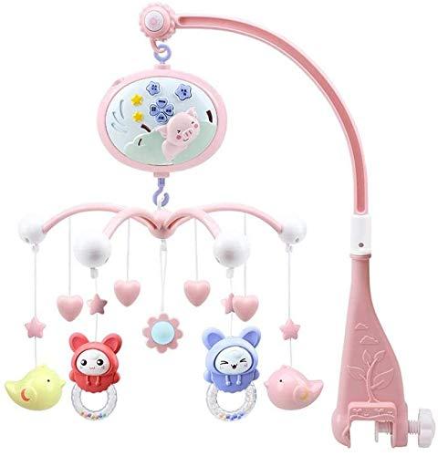 Noseeyou Baby-Musical Kinderbett Mobile, Rotating Spaziergänger Nachtglocke Geklapper-Spielzeug-Licht-Projektions Hypnotische Musik Früherziehung Baby Lernspielzeug,Rosa