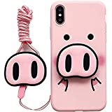pour iPhone XS Max Coque, pour iPhone XS Max Coque, Mignon Nez de Cochon airbag Support Sangle Souple Coque pour iPhone XS Max XR 6S 7 8 Plus for iPhone 6/6s