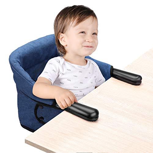 Tischsitz Faltbar Baby Hochstuhl Sitzerhöhung Stuhlsitz mit Transportbeutel, Ideal für zu Hause und Unterwegs(Blau)