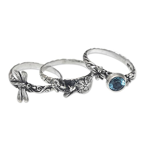 NOVICA Blue Topaz .925 Sterling Silver Dragonfly and Frog Stacking Rings, set of 3, Garden of Eden'