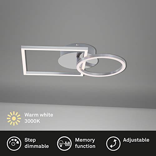 Briloner Leuchten, plafoniera dimmer, funzione Memory inclusa, 1 modulo LED girevole, 19,6 watt, 1.500 lumen, 3.000 Kelvin, cromo, alluminio cromato