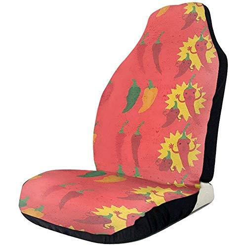 MJDIY autostoelbeschermer, rood, geel, groene peper, voorstoel, geschikt autostoelovertrek voor bestelwagen, 2 stuks