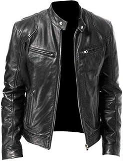 Kilts Boutique Men Premium Quality Black Leather Vintage Slim Fit Biker Jacket Racer Motorbike