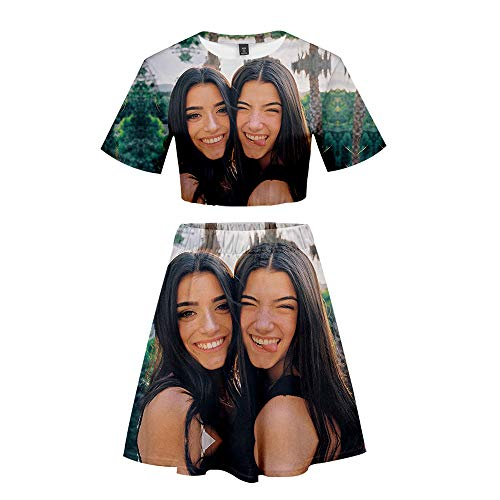 NCTCITY Mujeres Crop Tops + Faldas Skater Set Casuales T-Shirts & Falda Acampanada Charli D'Amelio Impresin 3D Traje de Dos Piezas