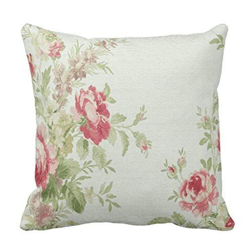 Jhonangel Throw Pillow Cover Green Roses Vintage Floral Pink Flowers White Faded Funda de Almohada Decorativa Decoración para el hogar Funda de Almohada Cuadrada 18x18 Pulgadas