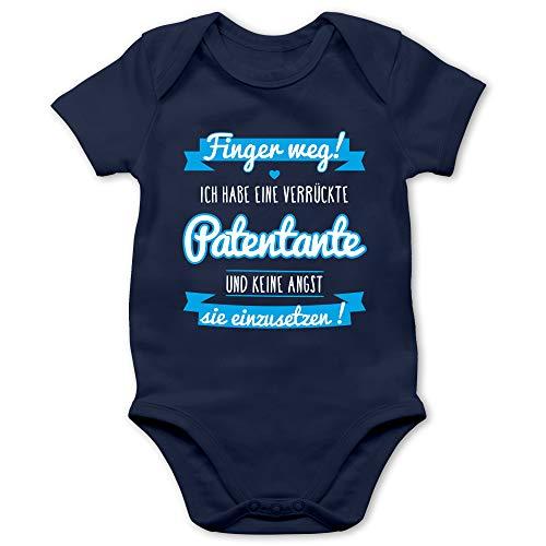 Shirtracer Sprüche Baby - Ich Habe eine verrückte Patentante blau - 3/6 Monate - Navy Blau - Baby Body mit sprüchen - BZ10 - Baby Body Kurzarm für Jungen und Mädchen