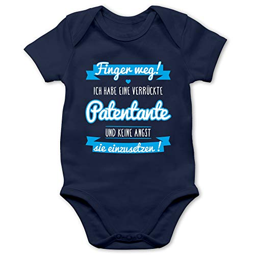 Shirtracer Sprüche Baby - Ich Habe eine verrückte Patentante blau - 3/6 Monate - Navy Blau - eine verrückte Tante - BZ10 - Baby Body Kurzarm für Jungen und Mädchen