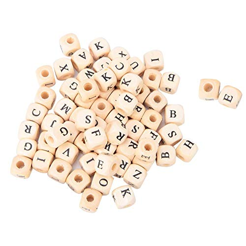 100 piezas de cuentas de madera del alfabeto, cuentas sueltas cuadradas de madera, cuentas de letras de madera, suministros para hacer joyas, 10 mm