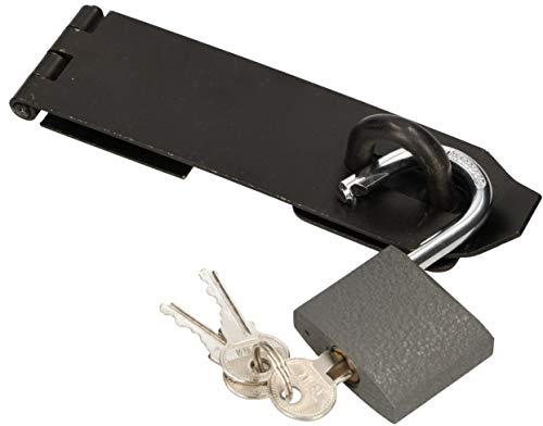 KOTARBAU® Cerradura con candado, diferentes tamaños, bisagra de sobrecarga, pestillo blindado para puerta, cerradura de seguridad con revestimiento de polvo (170 mm)