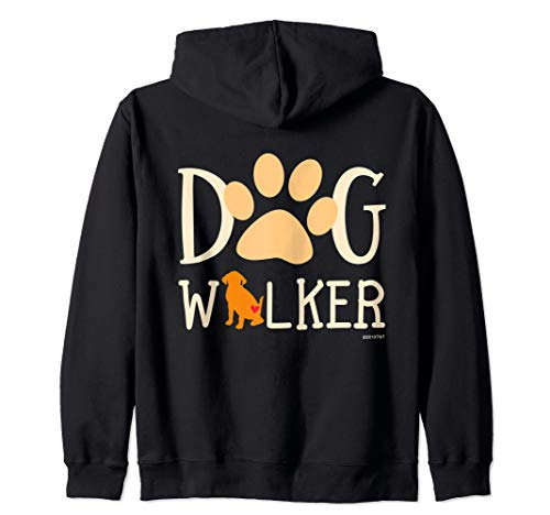 Dog Walker Dog and Paw Print With Heart Zip Hoodie