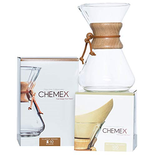 CHEMEX Bundle - 10-Cup Classic Series - 100 ct Natural Square Filters - Exclusive Packaging