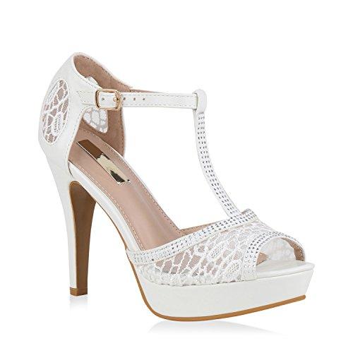stiefelparadies Damen Pumps Plateausandaletten Spitze T-Strap Sandaletten Party Schuhe 139681 Weiss 41 Flandell