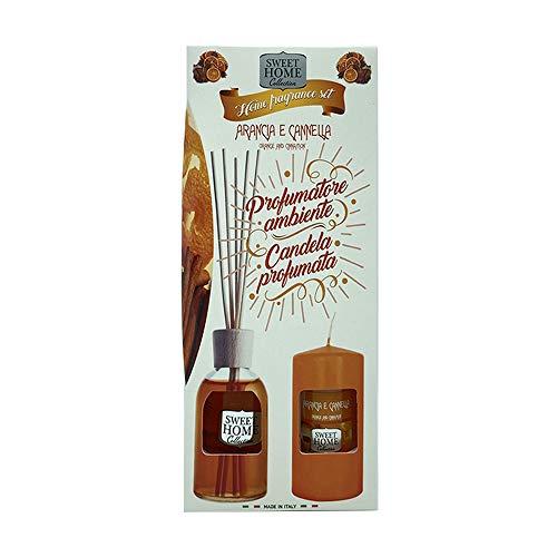 SUAREZ Sweet Home Collection Home Fragrance Arancia e Cannella Set Profumatore Ambiente 100 ml piu Candela Profumata 135 grammi